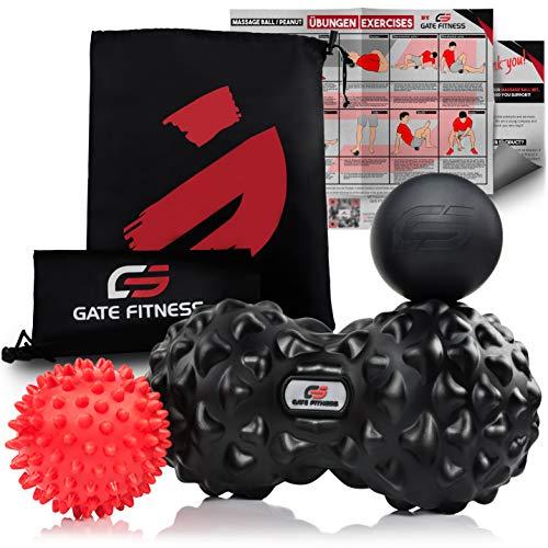 GATE FITNESS® massagebal set/fascienset (egelbal, fasciaral, duo-ball) massageballen voor zelfmassage en triggerpunttherapie van de wervelkolom, rug, nek, voetmassage | 3 massageballen