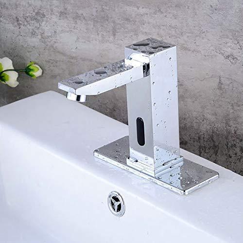 WOOLIY Automatische Sensor-Hahn, Touchless Infrarot-Hygiene Taps, Badezimmer-Bassin-Mischer-Hahn, Im Europäischen Stil Mit Sockel, Aus Messing Verchromt,Chrome