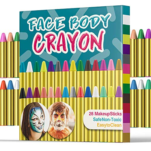 UNEEDE 28 Colors Face Paint Crayons Face Body Painting Sticks for Toddler, Children, Kids, Teens and Adult Easter Halloween Christmas Makeup Theme Party Supplies