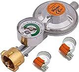 Regulador de gas de butano propano 50 mbar, 1,5 kg/h con válvula de emergencia e indicado, rosca macho de 1/4l, bbq, camping, caravana, plumber
