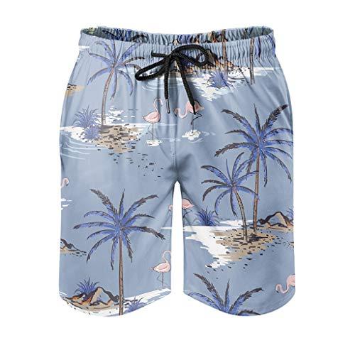 Ktewqmp Zomer zwembroek kokosnootboom mannen zwembroek zwemshorts heren met zakken polyester