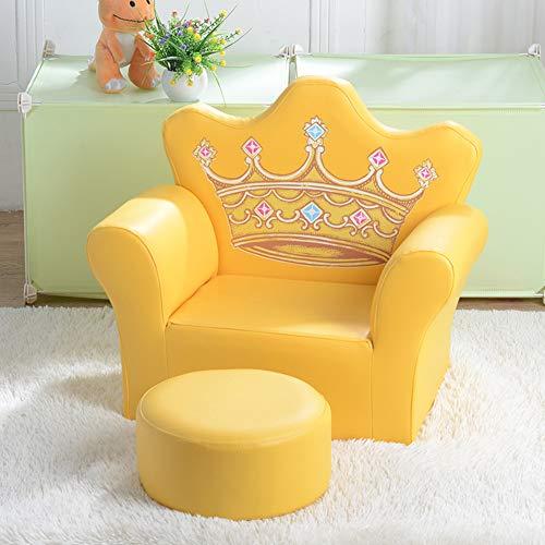 XLLLL Sillón De Corona para Niños Sofá De Princesa para Niños Sillón para Niños De Cuero Sintético Pequeño Sillón con Reposapiés Gratis Adecuado para Niñas De 1 A 6 Años,Yellow