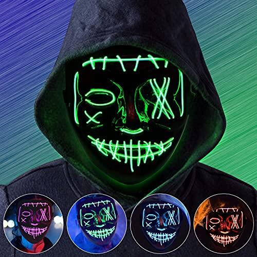 Molbory Halloween Maske, LED Purge Maske im Dunkeln Leuchtend, Halloween Purge Maske 8 Beleuchtungsmodi für Kostümspiele Cosplays Feste und Partys