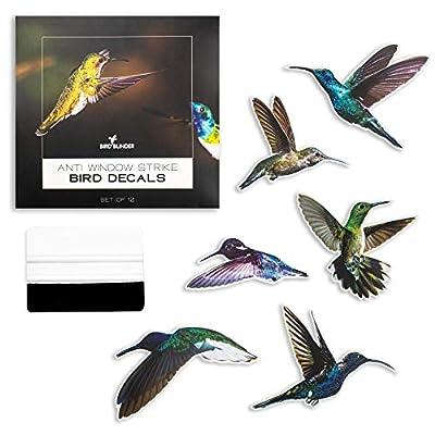 Bird Blinder 12 Hummingbird Window Stickers: 6 x 8 Inch Anti Strike Window Decals to Alert and Prevent Bird Strikes - UV Vinyl Cling Decal Sticker for Glass Windows - Bird Collision Prevention - 12
