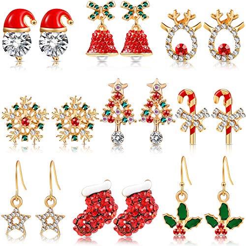 9 Pairs Christmas Crystal Earrings Set Xmas Style Stud Earring Snowflake Christmas Tree Elk Bell Star Drop Dangle Earrings for Girls Women