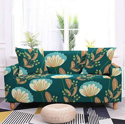 Protector de sofá con Verde Hojas Azul Claro Estampado,Fundas de Sofá Elasticas de 4 Plazas,Poliéster Suave con Funda elástica,Antideslizante Protector Cubierta de Muebles