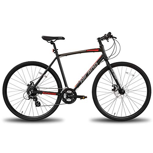 Hiland Hybrid Bike Commuter Bicycle with Disc Brake for Men and Women Adult Teenager Youth Boys Girls Urban City Comfortable Bicycle 700C Wheels 24 speeds Bikes Black 50cm