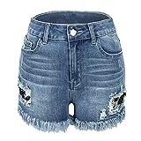 EMPERSTAR Short en Jean Taille Femme Broken Hole Flow Patch Lace Sue Women's High Stretch Short en Jean pour Femme Mode Casual Light Color M