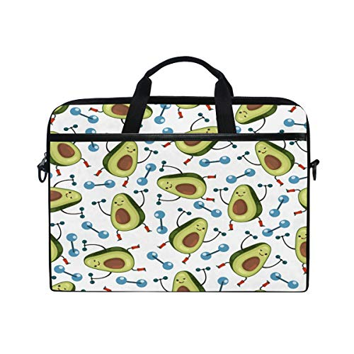 Cartoon Avocado Lifting Dumbbell Laptop Sleeve Case Carring Light Computer Protector Notebook Bag with Adjustable Strap for 15 Inch-15.4 Inch Ultra-Bag