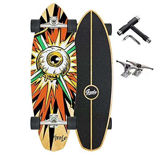 Surfskate Skateboard Adulto Carving Longboard Skateboard Surf Skate Cruiser Boards, Completo Arce Tablero 80×25cm, Rodamientos de Bolas ABEC-11, 8 Capas Arce/4 Ruedas, Principiantes y Profesionales,B