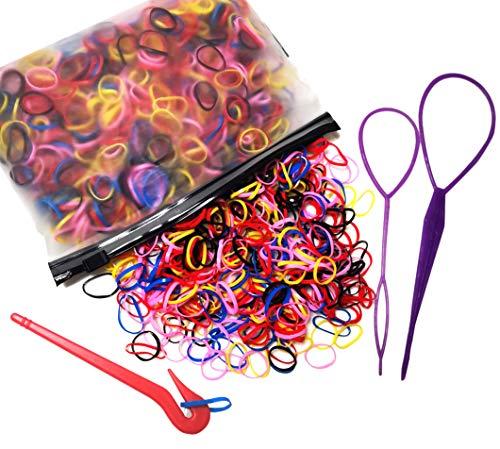 Fontee® 1000 Piezas Goma de Pelo Multicolor Lazo de Pelo Elástico Banda de Gomas pelo Niña, con 1 cortador, 2 uds trenzador