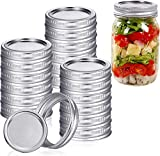 24 Pack Canning Jar Lids and Bands for Regular Mouth Mason Jars, Leak Proof Storage Stainless Can Covers Caps and Rings with Silicone Seals (Silver)