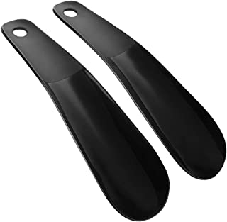 Plastic Shoe Horn Simple Flexible Sturdy Slip Black 2pcs