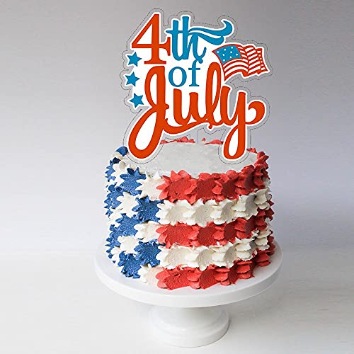 4th of July Acrylic Cake Topper Decoration for American Independence...
