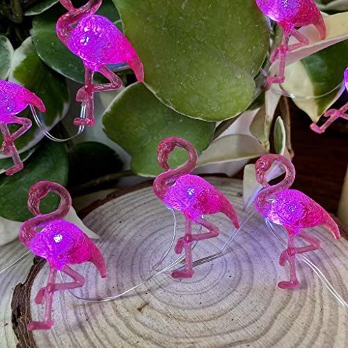 Summer Decoration Pink Flamingo String Lights, Tropical Themed Coral Mini Bird Ornaments 10 feet 30 LEDs with Timer and 9 Lighting Modes Remote Control for Home Wedding Birthday Party Camping Decor
