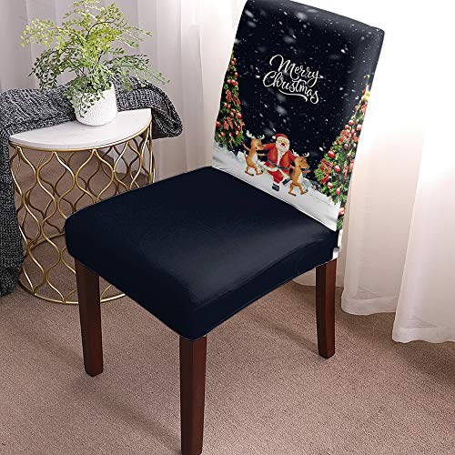 Chair Covers for Dining Room Set of 8 Merry Christmas Santa Claus dancing with Reindeer Removable Washable Chair Seat Slipcovers for Kitchen, Restaurant, Party, Ceremony