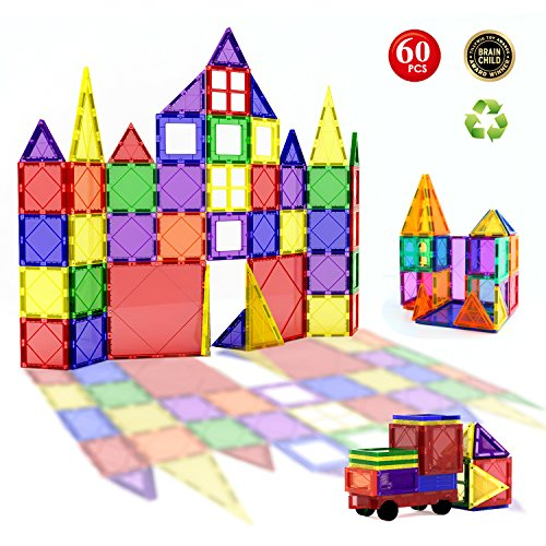 Children Hub 60pcs Magnetic Building Blocks Set - Building Construction Kit Educational STEM Toys For Kids (Stronger Magnets)