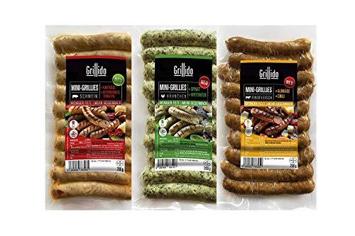 """Grillido Mini-Grillies Probierpaket I 3x 10 Stück I 1x Spinatico 1x Smoky Beef und 1x Italico I Mini-Bratwürste im """"Nürnberger Format"""""""