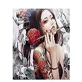 Pintar por Números Kits,Pintar por Numeros para Adultos Niños Chica anime DIY Conjunto Completo de Pinturas para el Hogar Decoraciones-Wooden_Frame_60x75cm E768