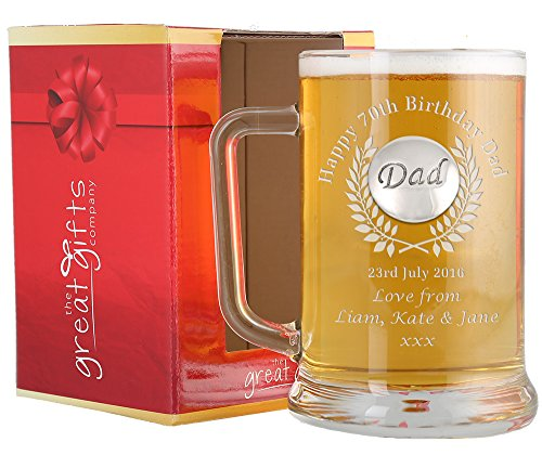 Dad 70th Birthday Engraved Pint Glass Tankard Dad Feature Gift Box