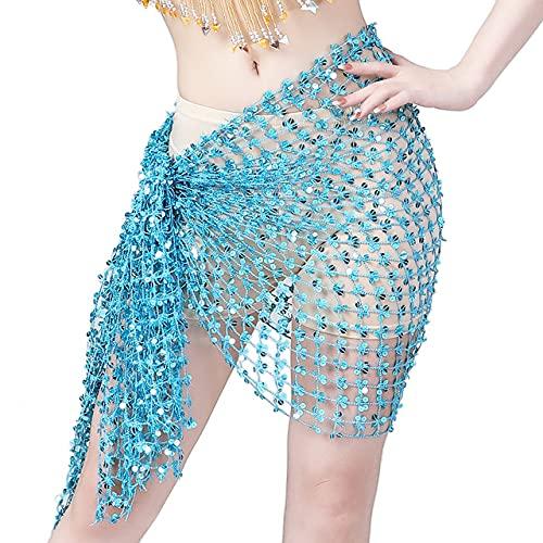 QSCTYG Cinturón De Monedas 15 Colores Belly Dance Ropa Accesorios Elástico Crochet Net Shawal Rectángulo Cinturón Banco Danza Bufanda Hip 112 (Color : Beige)