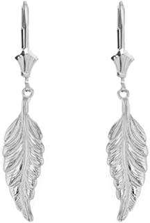 925 Sterling Silver Bohemia Leaf Feather Dangle Earrings