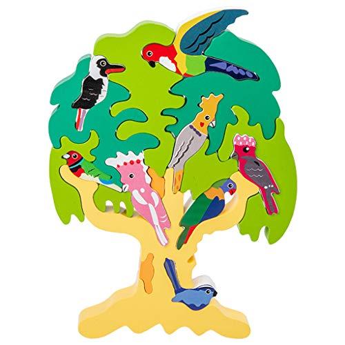 UEXCN Holz-Stapelspielzeug, 3D-Kinder-Baum-Puzzle, Montessori, frühes pädagogisches Spielzeug zum Selbermachen, Spaß mit Kindern