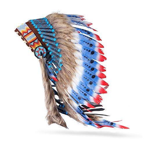 Pink Pineapple Traditioneller Indianer-Kopfschmuck handgefertigt im traditionellen Stil Nordamerikanischer Indianer - Kostüm - Blau, Rot und Weiß