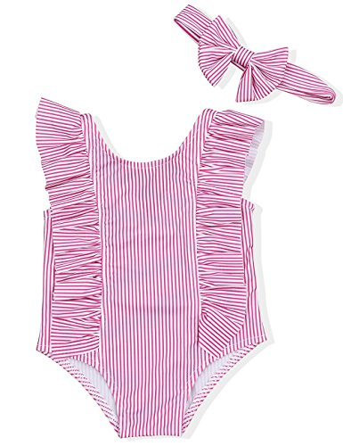 Baby Girl Bikini Striped Beach Swimsuit Ruffles Bathing Suit Swimwear+Headband 2 Pcs Set(100/12-18 Months) Pink