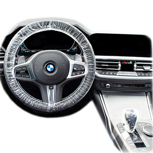 Disposable Steering Wheel Covers - 200 Piece Set of Clear Plastic Steering Wheel Cover and Gear Selector Covers