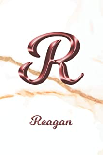 Reagan: Sketchbook | Blank Imaginative Sketch Book Paper | Letter R Rose Gold White Marble Pink Effect Cover | Teach & Practice Drawing for Experienced & Aspiring Artists & Illustrators | Creative Sketching Doodle Pad | Create, Imagine & Learn to Draw