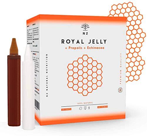 Gelée Royale Propolis Vitamine C et Échinacée 2000 MG. Réduire la Fatigue Regain d´énergie et Vitalité, Renforcement l'organisme 30 Ampoule Aróme Orange N2 Natural Nutrition