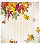 Herbst Duschvorhang Ahorn Blätter Pastell Kunstdruck für Badezimmer