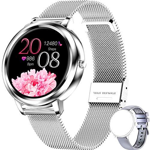 Smartwatch, Inteligente Impermeable IP68 Pulsera Actividad Hombre, Inteligente Reloj Deportivo Reloj Fitness con Pantalla Táctil Completa Pulsómetro Cronómetros per iOS Android Smartwatch Mujer