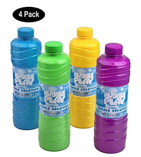BubblePlay Bubble Solution Refill - 4 Pack Bubbles for Kids 32 OZ Bubble Solution Refill, for Bubble Wands, Bubble Machines, Fun Bubble Blowing Products, for Ages 3+