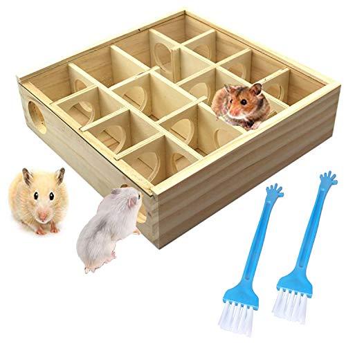Allazone Hamster Kleintierspielzeug, Hamster Spielzeug Holz Spielzeug Hamster Nest und Reinigungsbürste für Hamster, Maus, Andere Kleine Tiere
