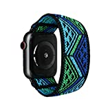 Tefeca Blue Triangle Line Pattern Elastic Compatible/Replacement Band for Apple Watch 38mm/40mm (Black Adapters, XL fits Wrist Size : 7.5-8.0 inch)