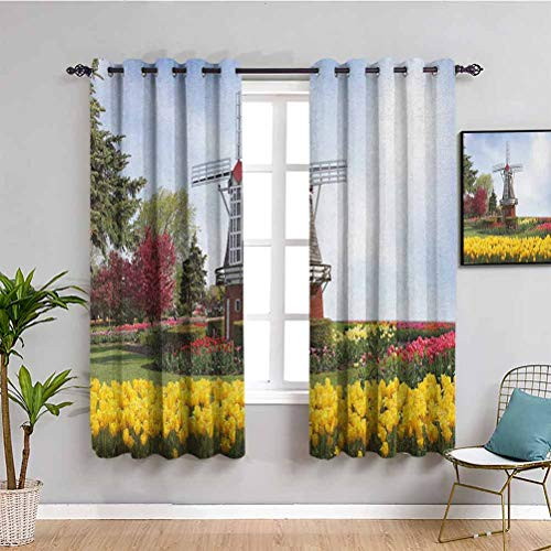 Windmill Closet Curtain, Curtains 72 inch Length Serene Vast Traditional Garden with Blossoming Flowers Trees and Dutch Tulips Indoor Curtain Multicolor W72 x L72 Inch