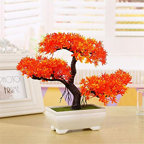 Artificial Bonsai Cedar, Welcoming Pine Emulate Bonsai Simulation Decorative Artificial Flowers Fake Green Pot Plants Ornaments Home Decor (orange)