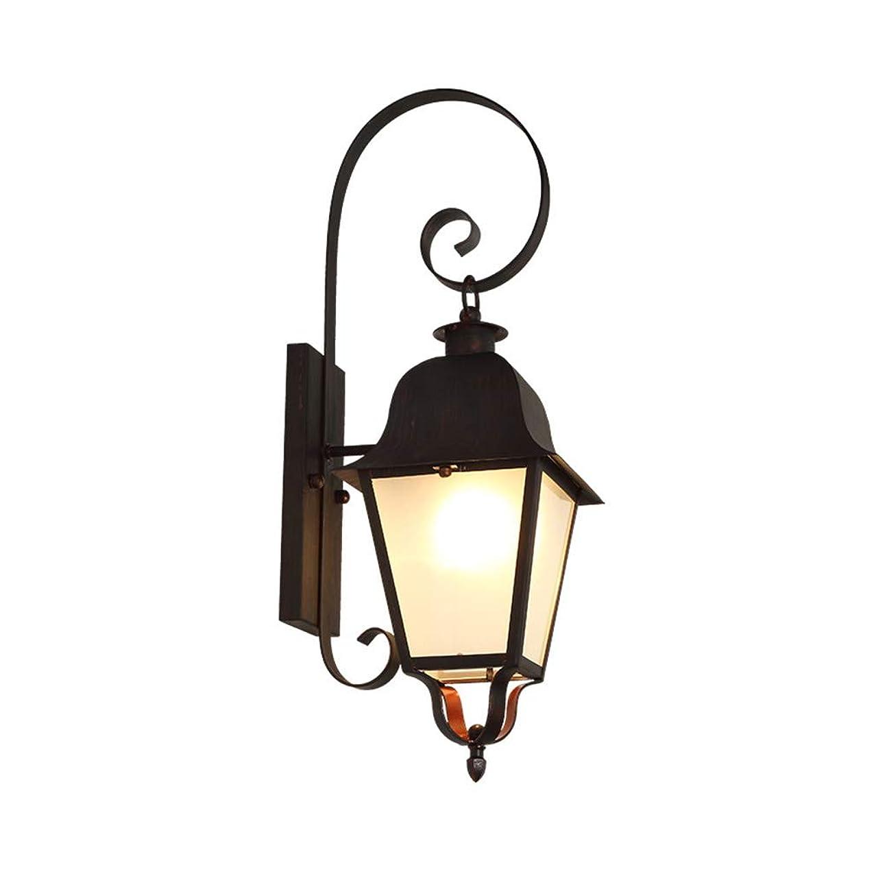 便益百万センター壁ランプ、ヨーロッパのシンプルなクリエイティブE27屋外防水壁ランプコートヤードバルコニー装飾照明 (Color : Black, Size : 20*63cm)