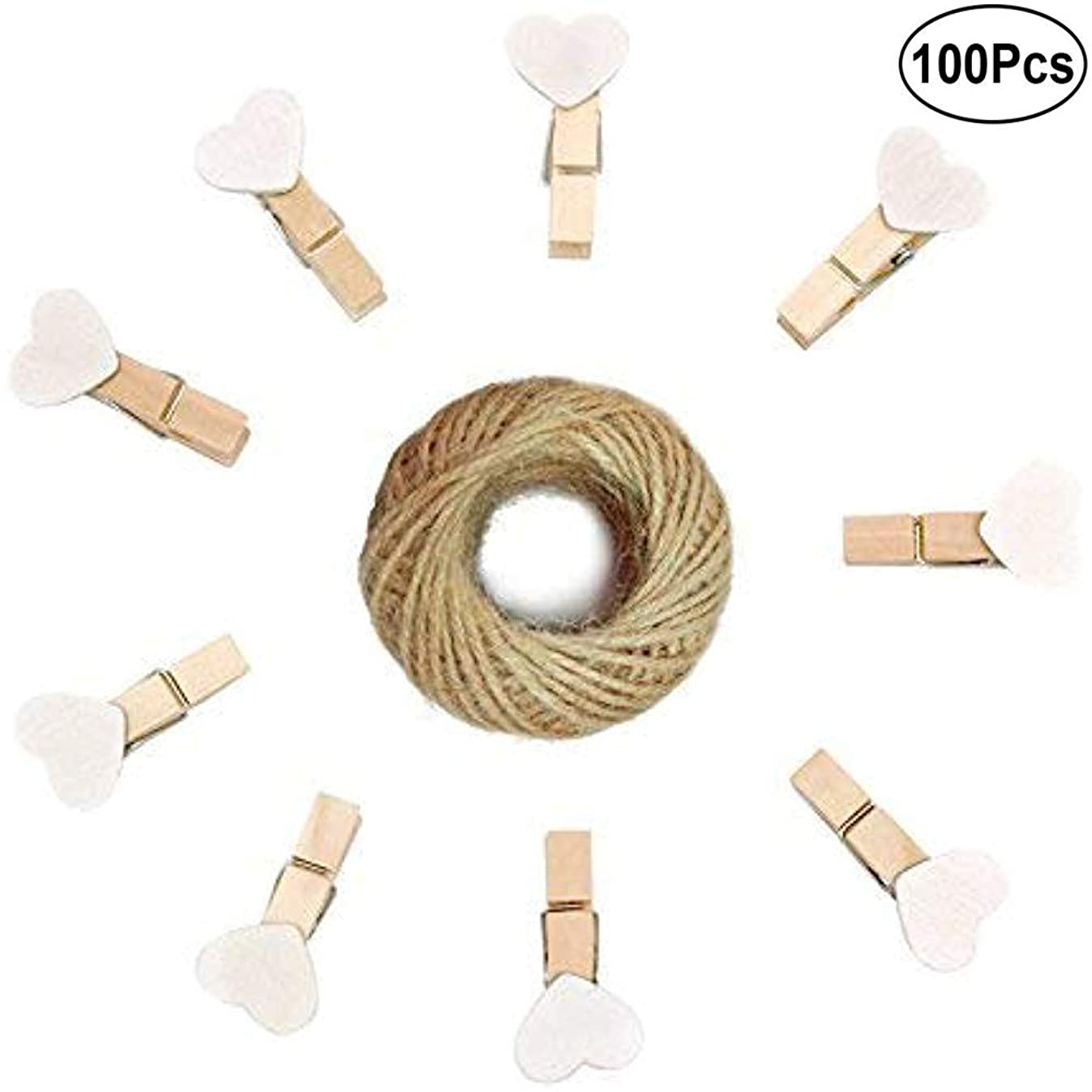 Free Walker 100 PCs Wooden Heart Clothespins 3.5cm with 10m Rope,Photo Paper Peg Craft Clips Wedding Note Hanging Hooks (100xWhite)