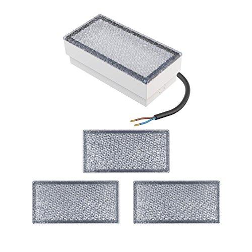 parlat LED Pflasterstein Wegeleuchte CUS, 20x10cm, 230V, warm-weiß, 4 Stk.