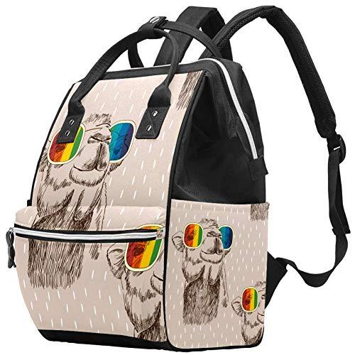 Bennigiry Camel avec lunettes Sketch Arabian Art Sac à langer Sac à dos de grande capacité Sac à dos de voyage Sac à langer Organisateur multifonction Sac de bébé pour maman