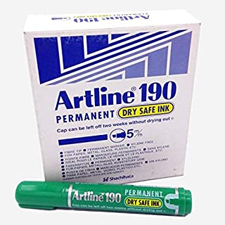Artline EK-190 Permanet,Dry Safe Ink, 5mm, Green (PACK OF 12)