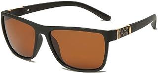 X&L - Gafas de Sol polarizadas Hombres Que conducen Visera para Hombres Gafas de Sol TR90 Hombres piernas de Fibra de Carbono UV400-Té Negro