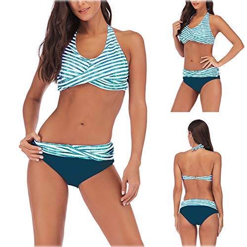 HWTOP Damen Bikini Set Badeanzug Push Up Verstellbar Crossover Ties-up High Waist Bikinihose V Ausschnitt Zweiteiliger Strandbikini FüR Mä Dchen Teenager Strandkleidung Strandwear Hellblau 3XL