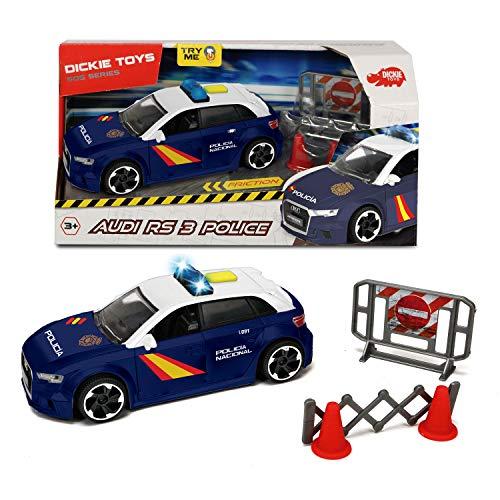 Dickie- Policía Nacional Control Policial Audi RS3 15cm 1153011 Vehículo de Juguete con función,...