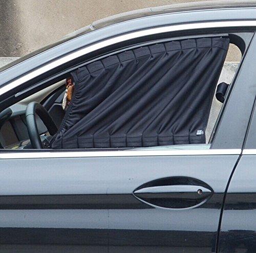 Basong Cortina Universal eclipsar sol de coche protección contra sol con pista de aleación de aluminio 70*47cm negro