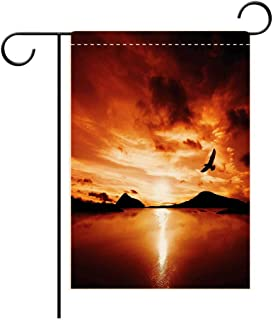 Josephine Joe Garden Flag Outdoor Flag House Flag Banner Birds A Sea Bird Flies Off into The Amazing Sunset Cloudy Sky Sun Reflection on Surface Brown Y Decorated for Outdoor Holiday gardens28x40in
