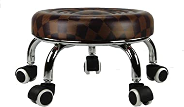 HM&DX Round Footstool with Wheels,Faux Leather Upholstered Footrest Stool Seat Sofa Small Stool,Movable Flower Stand -Brown L